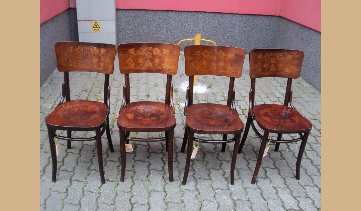 Sedie Depoca : Sedie depoca con seduta e spalliera intarsiate