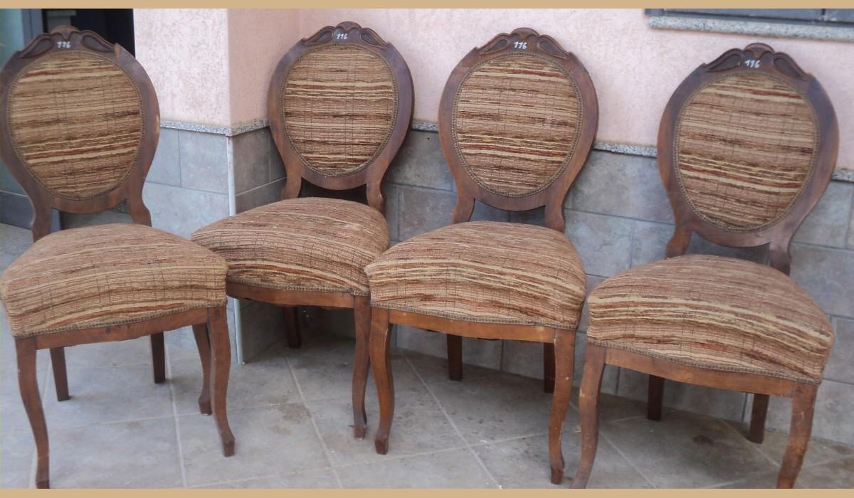 sedie antiche in noce luigi filippo a medaglione { da restaurare }
