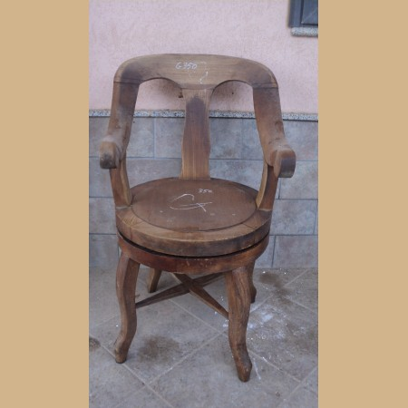 oggetti rustici : sedia da barbiere in castagno con rulli da restaurare epoca 800