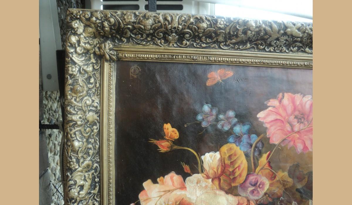 Quadro con fiori olio su tela con splendita cornice con for Quadri fiori olio