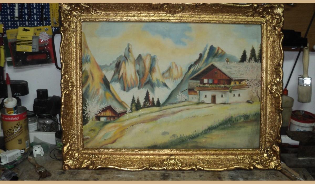 quadro casa con monti innevati cornice rifatta a foglia oro 83x63
