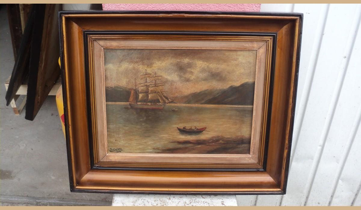 quadro con cornice dorata veliero con barca con 3 persone