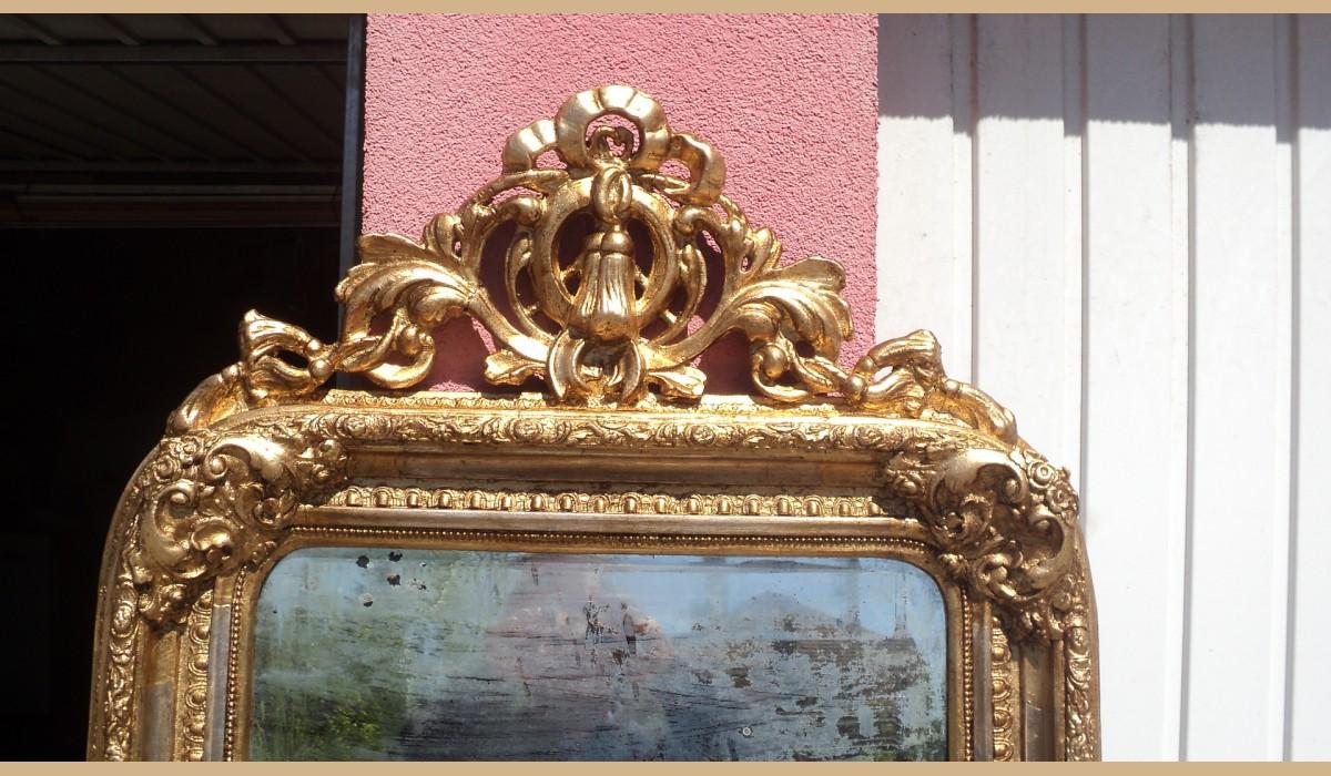 Specchiera con cimasa oro e argento con specchio originale al mercurio 72x124 - Specchio al mercurio ...