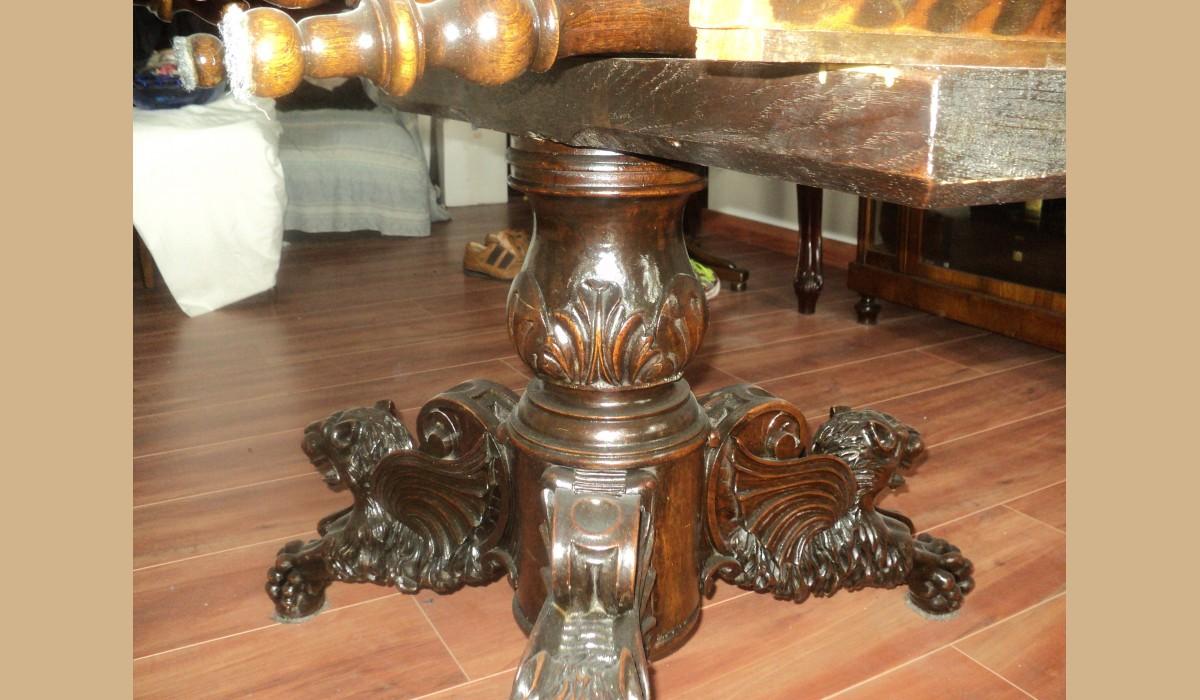 tavolo rotondo antico in noce massello allungabile restaurato alt 84 ...